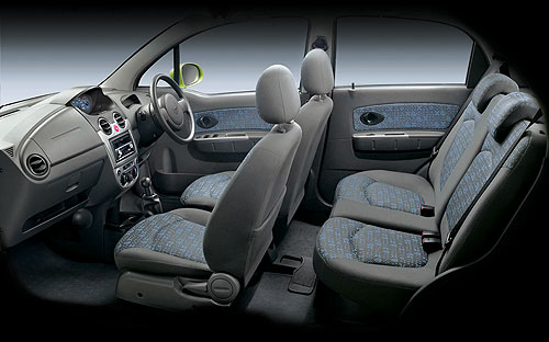 Interior of a conventional four-door Chevrolet Spark