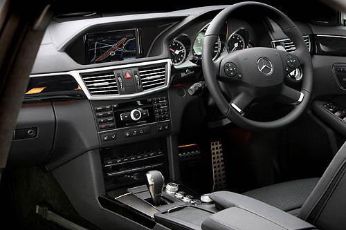 The cabin of the Mercedes Benz E 63 AMG