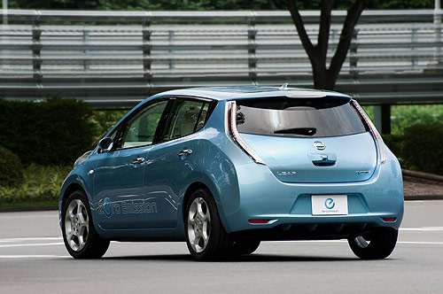 Rear view of the Nissan Leaf