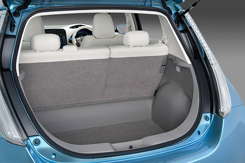 The small boot area on the Nissan Leaf