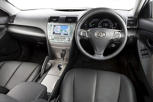 The dashboard for the new hybrid Camry from Toyota