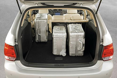 The luggage space in the new VW Golf wagon with part of the rear seat folded down