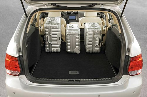 Luggage space in the new VW Golf wagon with the rear seats folded down