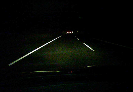 Highway driving at night in Australia