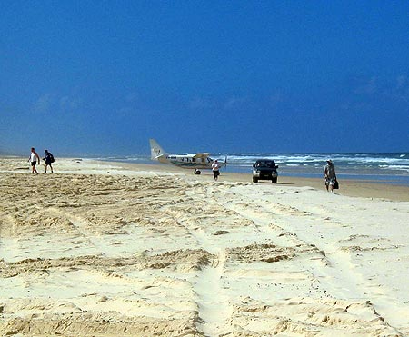 Plane on the road on Fraser Island