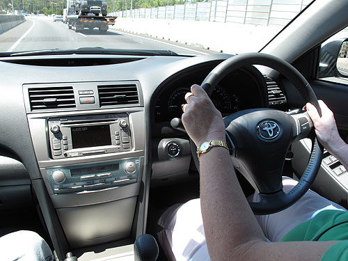 All controls on the Toyota Hybrid Camry are within easy reach of the driver