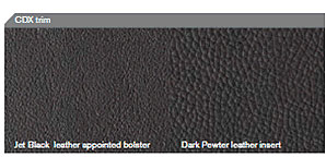 The leather upholstery with Jet Black on the left and Dark Pewter on the right