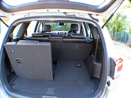 Note that the top of the rear seats protrude outside the line of the Santa Fe
