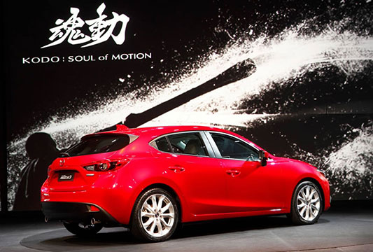 The rear view of the new Mazda 3
