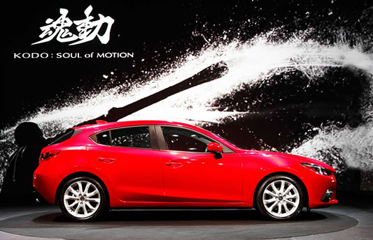 The new Mazda 3 side view