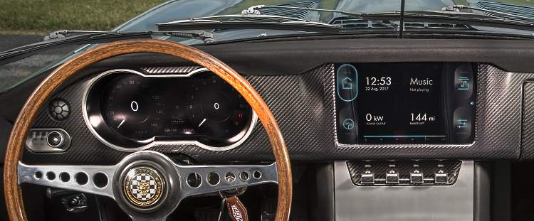 the electric E-type Jag dashboard